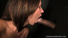 Lovely brunette Jada gets naughty with a glory hole quiver bone