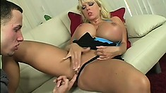 Harmony Bliss's huge boobs shake and jiggle as she wildly rides that stiff cock