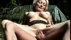 Wild mature blonde with big tits Sally gets banged hard in the outdoors