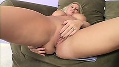 Long-legged blonde cock-lover with huge jugs gets drilled hard