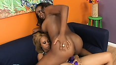 Hot caramel honey gets some love from a dark sista on the couch