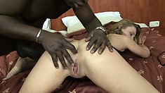 Blonde slut Suzy gets her ass fucked hard by Joachim's big black cock