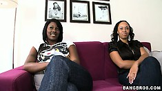 Two ebony goddesses with sexy bodies and seductive smiles have desires to fulfill