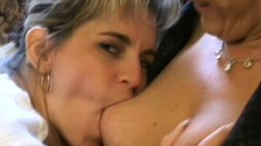 Stacked mature woman enjoys hot lesbian sex with a pretty young blonde