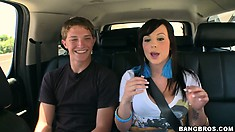 Young brunette pornstar Lindy Lane having lunch and teasing a horny dude