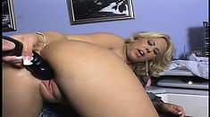 Irresistible blonde uses her favorite dildos to drill her fiery holes