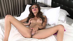 Restless In Bed, This Cute Little Brunette Needs A Good Finger Fuck To Calm Down