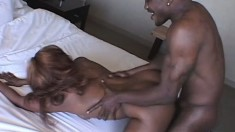 Eager black girl impales her pretty slit on a throbbing cock