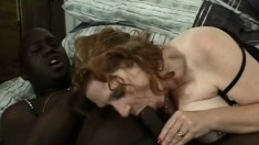 Chubby wife in a corset cheats on her man with a big black dick