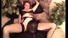 Busty lady in sexy lingerie Mary Jane gets drilled hard by a black guy