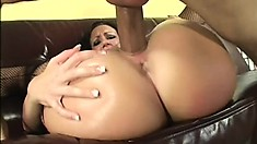 Bottom heavy brunette slut gets oiled up and slammed balls deep