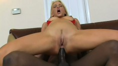 Wild blonde with sexy tits feeds her desire for black cock and anal sex