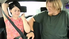 Gorgeous Heidi is so horny she jumps on a big dick in the back seat