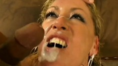 Hardcore porn slut gets hammered by four black dicks and gets a massive facial